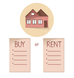 comparing buy and rent house list with bullets vector image