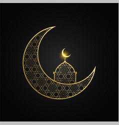 creative eid mubarak moon and mosque design vector image