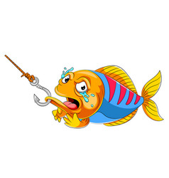 Crying fish on fish hook vector