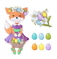 Cute cartoon fox with a bouquet tulips and with vector