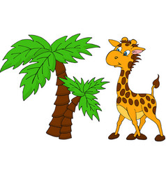 cute giraffe and palm tree vector image