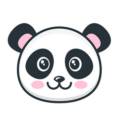 cute panda face isolated on white background vector image