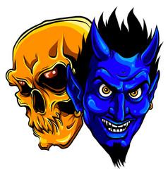 devil and skull head design vector image