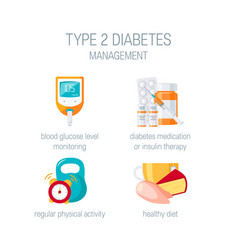 Diabetes management concept in flat style vector