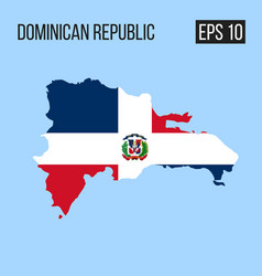 Dominican republic map border with flag eps10 vector