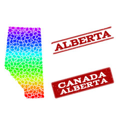 Dotted spectrum map of alberta province and grunge vector