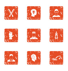 Employee of the month icons set grunge style vector