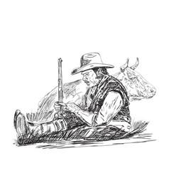 farmer is sleeping vector image