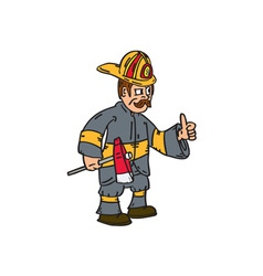 Fireman Firefighter Axe Thumbs Up Cartoon vector