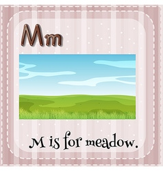 Flashcard letter M is for meadow vector