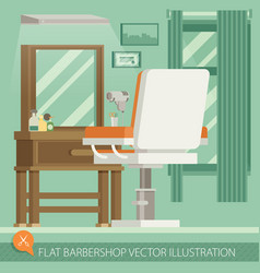 Flat barbershop interior and equipment icons vector