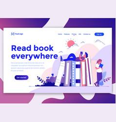 flat modern design wesite template - read book vector image