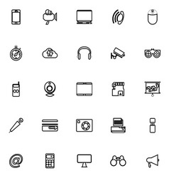 Gadget line icons on white background vector