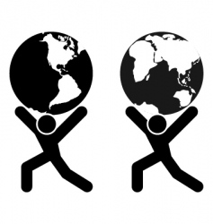 globe holding man vector image