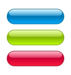 Glossy blue red and green web buttons vector