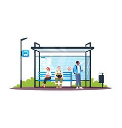 guy smoking at a no smoking bus stop semi flat vector image