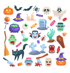 halloween icons funny holiday candle zombie vector image
