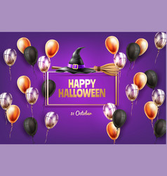 happy halloween poster witch hat broom vector image