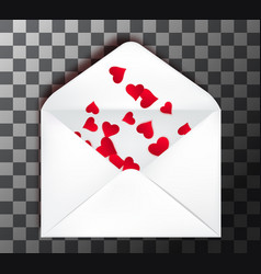 happy valentine s day open envelope with paper cut vector image
