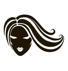 Head of a girl with long hair vector
