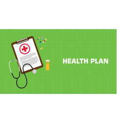 Health plan with paperwork on clip vector