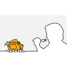 Hungry human and chicken vector