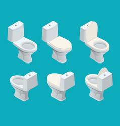 Isometric toilet equipment collection for interior vector