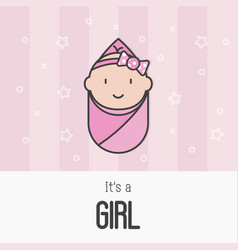 Its a girl concept for greeting card vector