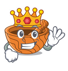 King wooden kitchen mortar isolated on mascot vector