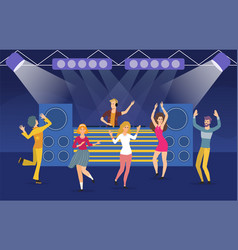 Large group young people dancing in a nightclub vector