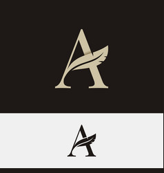 letter a with feather logo on black and white vector image