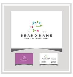 Letter e people team colorful logo design vector