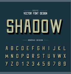 line font and alphabet shadow typeface vector image