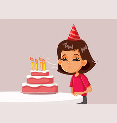Little birthday girl blowing candles on a cake vector