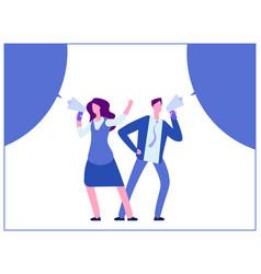 Man and woman with megaphone and bubble speech vector