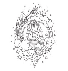 Mermaid with beautiful long hair sitting on a vector