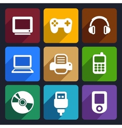 Multimedia flat icons set 7 vector image