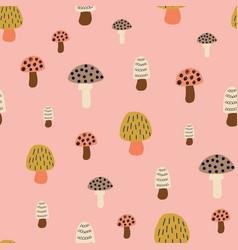 mushroom seamless pattern modern doodle vector image