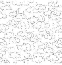 night sky seamless pattern with clouds stars moon vector image
