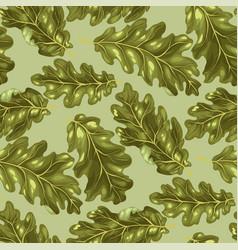 Oak leaves in seamless pattern vector