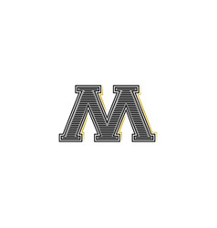 old serifs style letter m initials logo monogram vector image