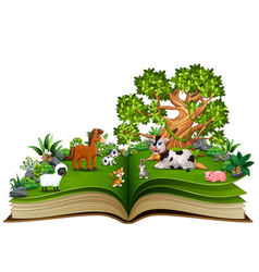 Open book with farm animal cartoon playing in the vector