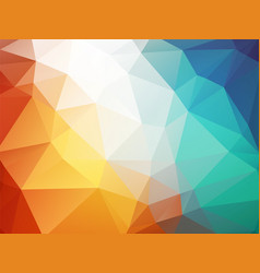 orange blue polygon background ice fire vector image