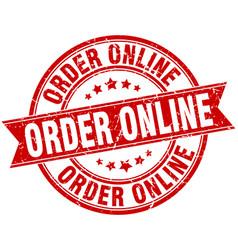 Order online round grunge ribbon stamp vector