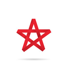 origami star red colored on a white background vector image