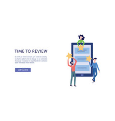 people give online customers feedback banner flat vector image