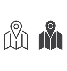 pinpoint on map line and glyph icon vector image