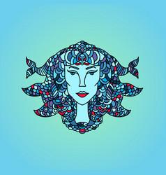 pisces girl portrait zodiac water sign doodle vector image
