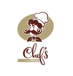 Professional man chef with large mustache for vector