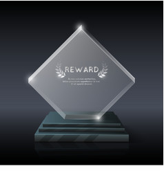 realistic crystal glass trophy award vector image
